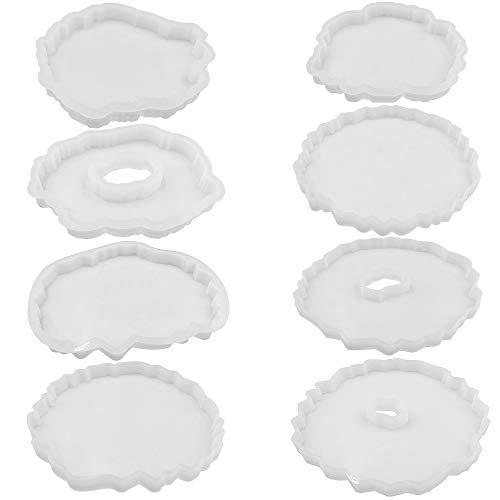 SENHAI 8-teiliges Untersetzer-Silikon-Epoxidharz-Formen für unregelmäßige Geoden-Untersetzer, Harz-Formen für Heimwerker, Heimdekoration, Achat-Untersetzer-Set
