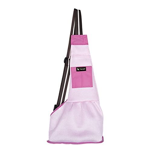 JSJJAEA Rucksack für Haustiere Oxford Tuch Hundeträger Pet Sling Rucksack (Color : Mesh pink, Size : S)