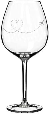 Wine Glass Goblet Heart Love Travel Airplane (20 oz Jumbo)