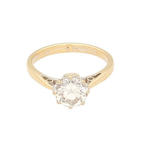 Anillo solitario de oro amarillo de 18 quilates para mujer  de 1 20 quilates  talla K  cabeza de 7 mm  anillo de lujo para mujer