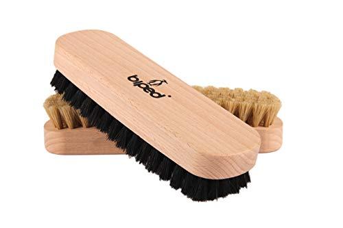 biped 2 Stück Set - Buchenholz Schuhbürste mit Naturborsten - für die Reinigung oder Politur z2345(1 x hell / 1 x dunkel)