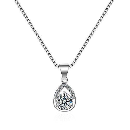 SUIWO Collar de Las Muchachas de la joyería Collar de Cadena Pendiente del Collar de Las Mujeres del Cuello de la Cadena de la Mujer circón joyería Pop Gota Colgante de Moda