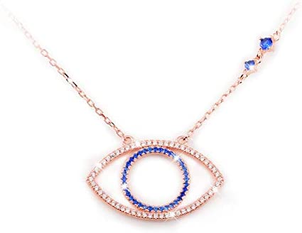 Evil Eye Jewelry Necklace 925 Sterling Silver Blue White CZ Pendant Choker Necklace Gifts for product image