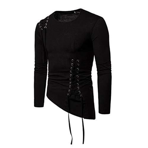 QJKai Ras du Cou for Hommes T-Shirt Fashion Slim irrégulière Conception Corde tressée Chemises Veste à Manches Longues Pull (Color : Black, Size : S)