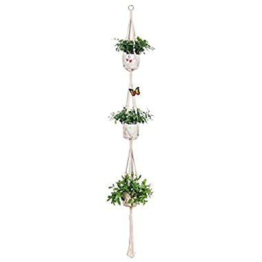 Aozita Classic Macrame 3 Tier Plant Hanger for Hanging Holder Flower Baskets Pot Indoor Outdoor Decor with 2 Hooks - 70 Inch
