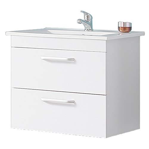 Aica Sanitär Waschtisch mit Unterschrank 60 cm Milan 01 Hängeschrank Badmöbel Set 2× Schubladen Gäste WC Weiß