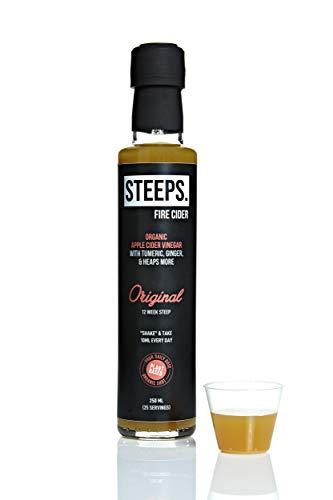 Steeps Fire Cider Originele Smaak, Organische Apple Cider Azijn met Kurkuma, Gember & Heaps Meer, 25 Schoten (250ml Fles)