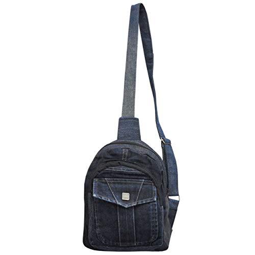 wifash Jeans Jeanstasche aus Jeanshosen genäht Umhängetasche Rucksack Schultertasche/Upcycling - aus Alt mach Neu (Crossback 42096)