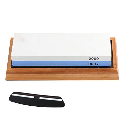 Angoily 1 Juego de Guijarros Afilados 1000/6000 Juego de Piedras de Afilar de Doble Cara con Guía de Ángulo de Base de Bambú Antideslizante Herramientas de Cocina de Compuesto de Pulido