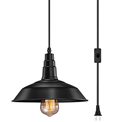 FadimiKoo Edison Industrial Vintage Metal Hanging Ceiling Pendant Lamps for Dining Room, Bed Room Or Warehouse Swag Light with Plug and 9.8 Ft Cord and On/Off Adjust Switch