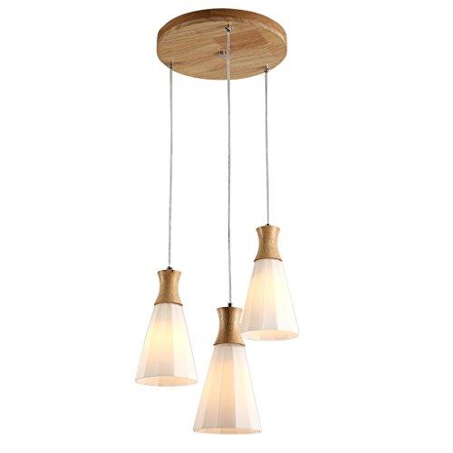 MEGSYL Japanse massief houten plafondlamp, moderne eenvoudige creatieve kunst kroonluchter, woonkamer restaurant balkon decoratieve verlichting kroonluchter, 3 lichtbronnen glazen creatieve hanglamp, hoge helderheid enkel hoofd combinatie plafond lamp, houtkleur