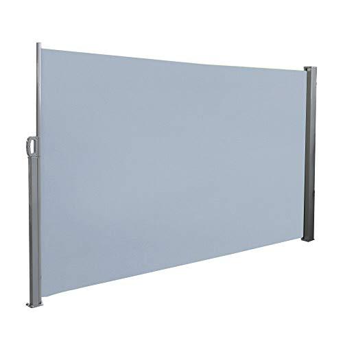 UISEBRT Seitenmarkise 200 x 300cm Seitenrollo Sonnenschutz Sichtschutz Windschutz für Balkon Terrasse Garten, Grau