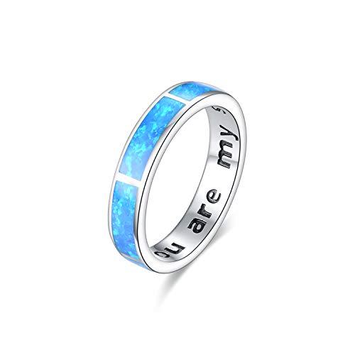 Blau Opal Ring Sterling Silber 925, Silber Ring 925 Damen 'Du bist mein Sonnenschein' Silber Opal Ringe Schmuck für Damen Frauen Freundin Liebhaber Frau Ehe, Verlobung