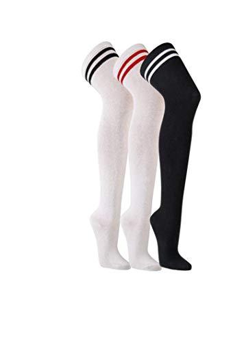 FussFreunde 2 Paar Mädchen Crew Socks Overknees im College-Style,Retro, Cheerleader, Überknie (Weiß/Rote Ringel, 36-41)