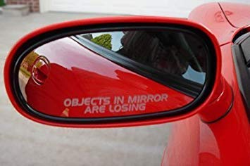 Decalgeek Mirror Decals OBJECTS IN MIRROR ARE LOSING for MINI COOPER CLUBMAN S CONVERTIBLE SUPERCHARGED COUPE TURBO