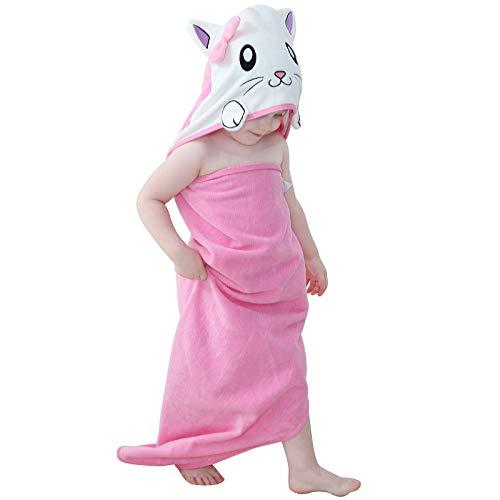 MICHLEY Bebé Ropa Niños Niñas Capucha Toallas de baño 90x90cm Niño Animal Albornoz Algodón Manta Regalos Para Bebes apto para 0-6 años(Gata)