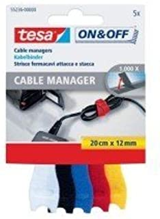 Tesa© On & Off Cable Manager, 12 mm x 20 cm, gesorteerd, klein