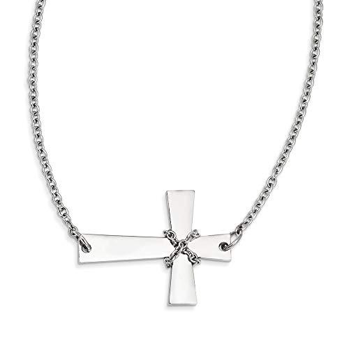 Halskette mit Anhänger, Edelstahl, poliert, Karabinerverschluss, seitlich, religiöses Glaubenkreuz mit Kette, Schmuck, Geschenke für Frauen – 53 cm
