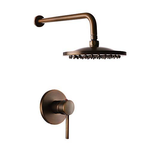 Grifo de ducha Empotrado Vintage Latón antiguo Sistema de ducha vintage Válvula de cerámica Baño Mezclador de ducha Grifos Monomando Grifo de baño Ducha de función única