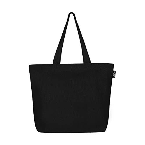 Eono Canvas Large Tote Bag Cotone Riutilizzabile Borse Spesa Eco-Friendly Alimentari Spalla Sacchi di Juta Cotone per Le Donne, Uomini, Ragazze Borse - Plain Nero | 0502