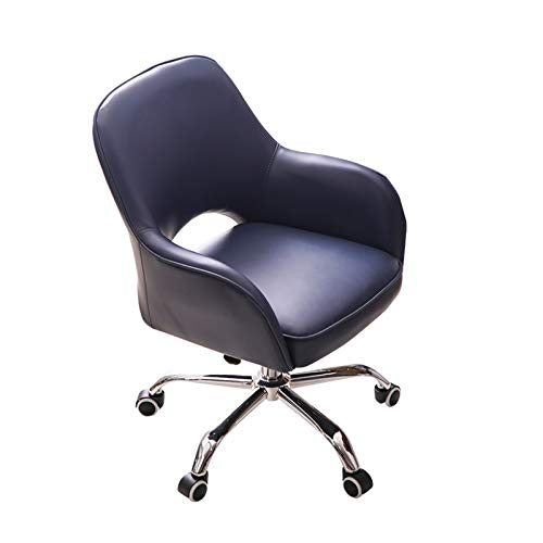 LJJSMG Office Chair Boss Chair Computer Chair Mass PU Household Swivel Chair, Household Ergonomics Computer Chair Office Staff Hollow Back Seat Five-Star Foot Game E-Sports ChairChai (Color : Blue)