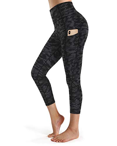 STYLEWORD Women's Camo Pattern Print Yoga Pants High Waist Full-Length Leggings with Pocket(Black Camo capris-097D 20inch,M)