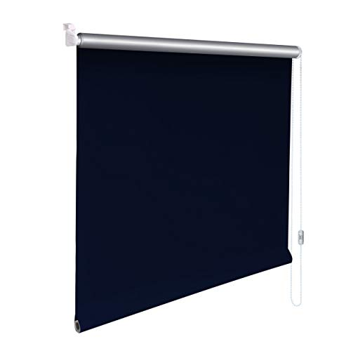 Sonnenschutz-HH® - Mini Thermo Verdunkelungsrollo Thermorollo Minirollo Rollo KLEMMFIX Seitenzugrollo Kettenzugrollo inkl. Klemmträger ohne bohren - Außenmaß Breite 95 x 140 cm Höhe - blau