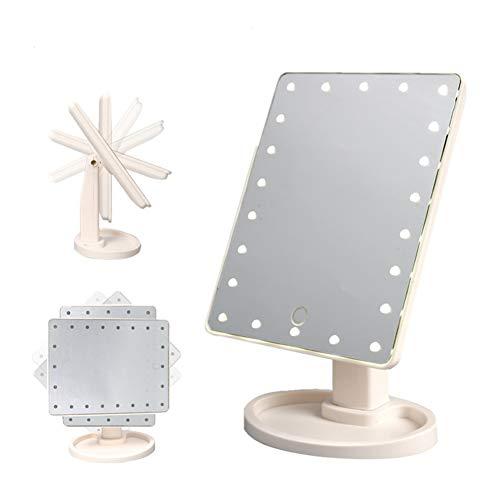 LKKCHER Make-up-Spiegel mit LED-Lichtern, Tischspiegel Rasierspiegel Schminkspiegel Beleuchtet 22 LED-Lichtern, Kosmetikspiegel für Schminken, Rasieren und Gesichtspflege