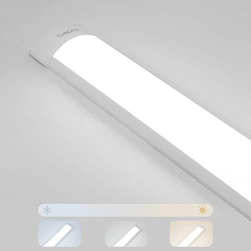 60cm Regleta LED iluminacion Regulable, 20W 2000LM Lámpara de techo LED LED Tubo Fluorescente con Tres Temperaturas de Color 3000K-4000K-6500K, IP54 Tubo LED Integrado bajo Mueble
