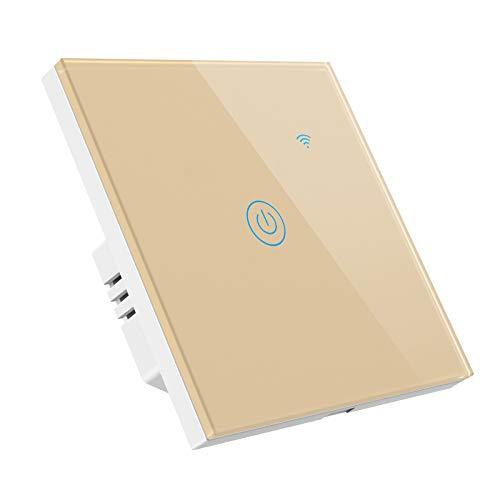 Gobesty Interruptor de Pared Wi-Fi, Interruptor Luz WiFi Interruptor Inteligente compatible con Alexa Google Home Smart Life, Panel de vidrio táctil, 1 Vías No se requiere cable neutro, Dorado