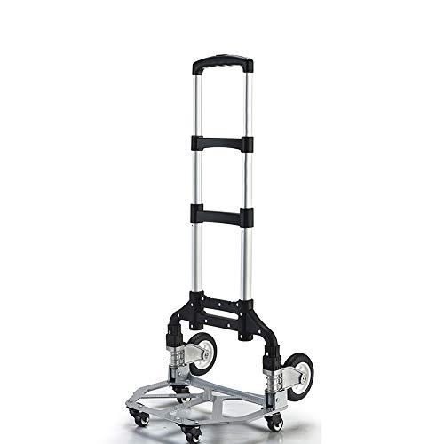 Yinleader - Carretilla de mano de aluminio plegable, muy resistente, mango extralargo de 106 cm, cuatro ruedas universales de 360°, incluye caja de la compra y cuerda de expansión