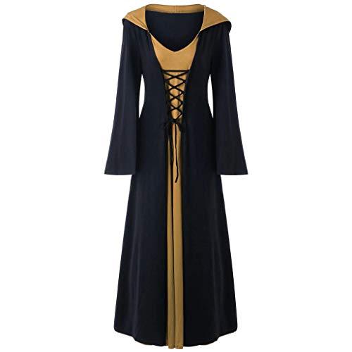 SHE.White Damen Halloween Schnür Patchwork Maxi Kleid mit Kapuze Langarm Karneval Jacke Frauen Spitze Jacke Retro Mantel Cosplay Gothic Kleidung