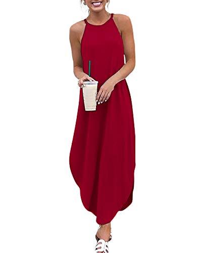 YOINS Sommerkleid Damen Lang Sexy Oversize Ärmellos Strandkleid Casual Partykleid Elegant Lose Kleid HoheTaille Rot 40-42