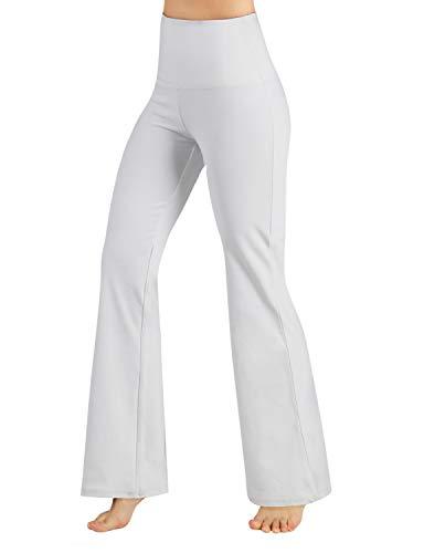 ODODOS Women#039s High Waist BootCut Yoga Pants Tummy Control Workout Non SeeThrough Bootleg Yoga PantsWhiteXSmall