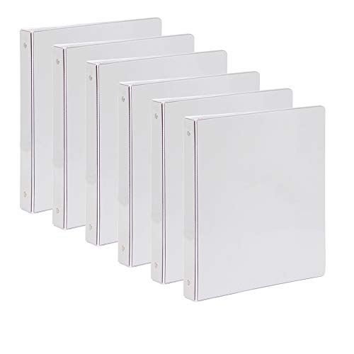Comix 1 inch 3-Ring-Binder Durable Presentation View Binders Holds 200 Sheets, 6pack (A2130-6) (White)