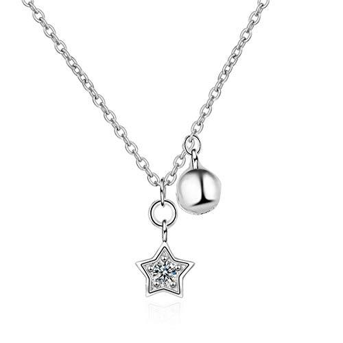Yikoly Dames meisjes ketting zilver 925 met hanger mode bel sterren lief korte halsband Y-kettingen voor vrouwen/vriendin