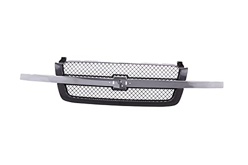 JustDrivably Replacement Parts Front Grille Grill Chrome Center Bar With Gray Insert Compatible With Chevrolet Avalanche 1500 2500 Silverado 1500 1500HD 2500 2500HD 3500 Classic 2003-2007 Pickup Truck