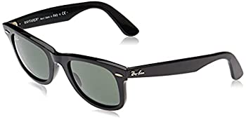 Ray-Ban RB2140 Original Wayfarer Sunglasses Black/Crystal Green 54 mm