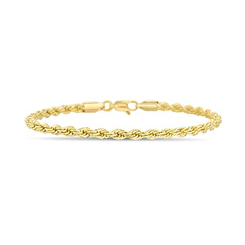 Nautica 4mm 8.5 Inch Rope Chain Bracelet for Men or Women in Yellow Gold Plated Brass