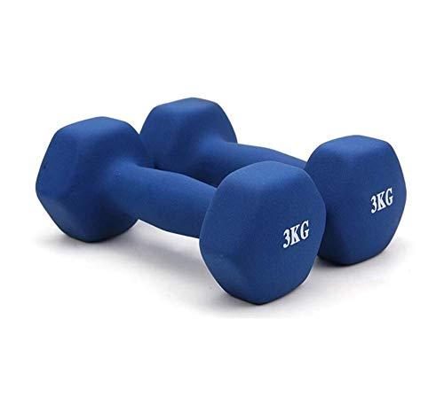 Rutschfeste Paar Hanteln 2 kg Mattierte Hanteln Set Hex Tragbare Mode Hanteln Umgebungsgummi Mehrere Gewichts- und Farboptionen für Bewegung Fitness Muskelaufbau EtcBlue-3kg x 2