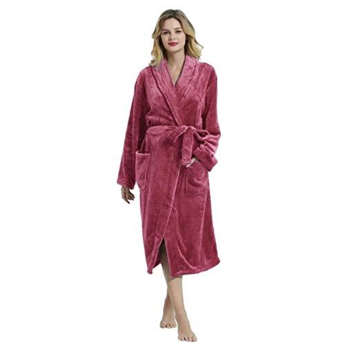 TOBEONE Ropa de Dormir Bata Mujer Pijama de Manga Larga Hombre Toalla de baño cálida Albornoz Invierno Bata de Franela Gruesa