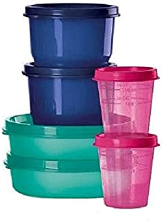 Tupperware Mega Mini 6 Piece Set Includes 2 Each of Little Wonders Bowls, Snack Cups and Midgets in Green, Blue & Pink