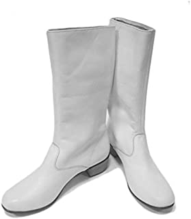 Russian boots women white dance leather shoes Cossack boots