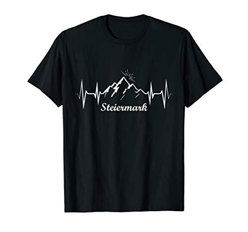 Steiermark Herzschlag Ekg Berg Steirer Bua Madl Fahne Flagge T-Shirt