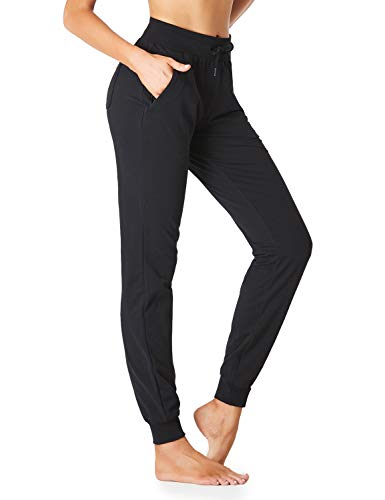 "SEVEGO Women's 30"" 32"" 34"" Inseam Cotton Soft Jogger with Zipper Pockets Drawstring Workout Lounge Sweatpants 34"" Black S"