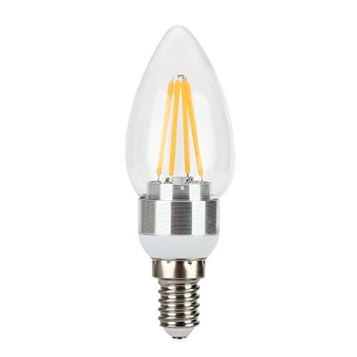 LOMATEE-Lampadina LED a filamento, attacco E14, forma a candela, 4 W ad incandescenza (equivalente 40 W), 3000 K, colore bianco caldo), angolo di diffusione: 360°, E14 4.00 wattsW