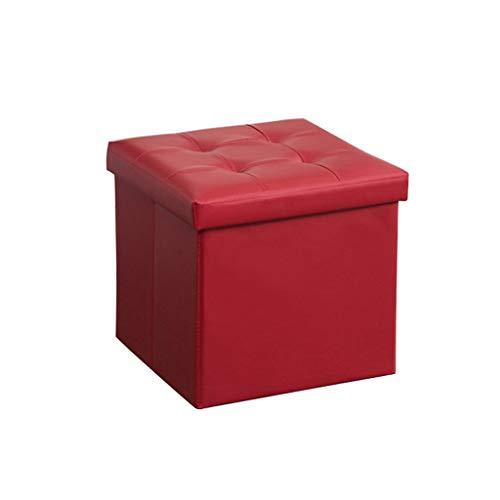 Pouf pliant pliant/pliant avec couvercle, tabouret, siège, table basse, coffre de rangement et simili cuir contemporain (Couleur : Red, taille : 38x38x38cm)