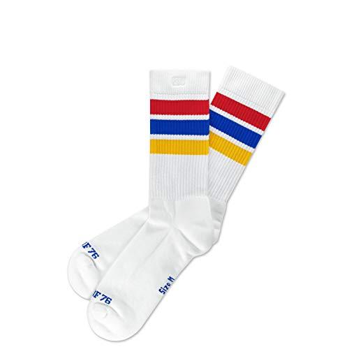 Spirit of 76 Herren & Damen Gestreifte Retro Crew Socken Baumwolle 43 44 45 46 Weiß - Rot - Blau - Gelb Lo (L)