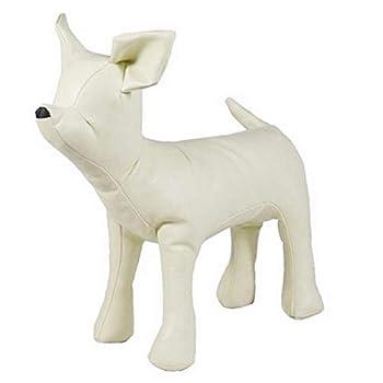 Cikuso Mannequins De Chien en Cuir Jouets De ModèLes De Chien De Position Debout Mannequin d'Affichage De La Boutique d'animal De Compagnie Blanc M