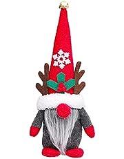 Zhongchao Handgemaakte Tomte Zweedse Kabouter Scandinavisch Beeldje Pluche Nordic kabouters Elf Pop met Bell Rendier Horns Home Decor